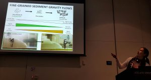 Melissa Craig presenting on the influence of organic matter on sediment gravity flows